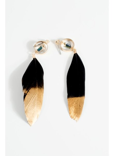 Trend Gold dipped feather earrings