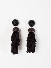 Trend Black tiered bead post earrings