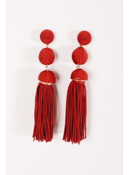 Trend Red fringed triple ball earring