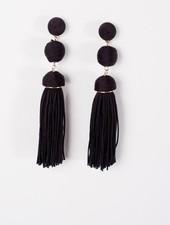 Trend Black fringed triple ball earring