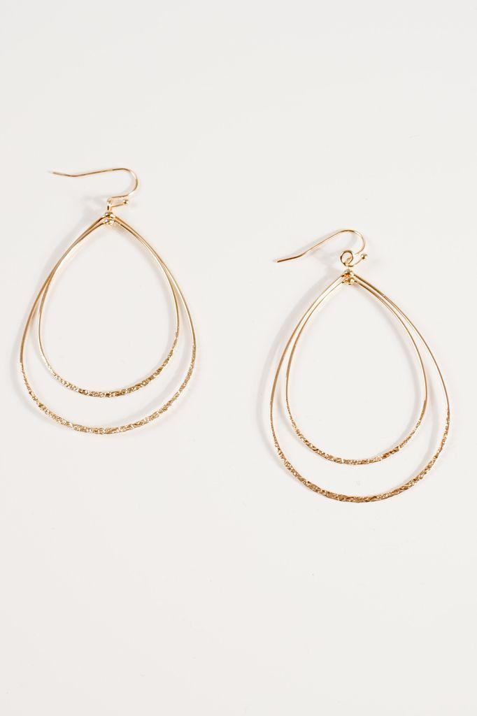 Gold Double tear drop gold earring