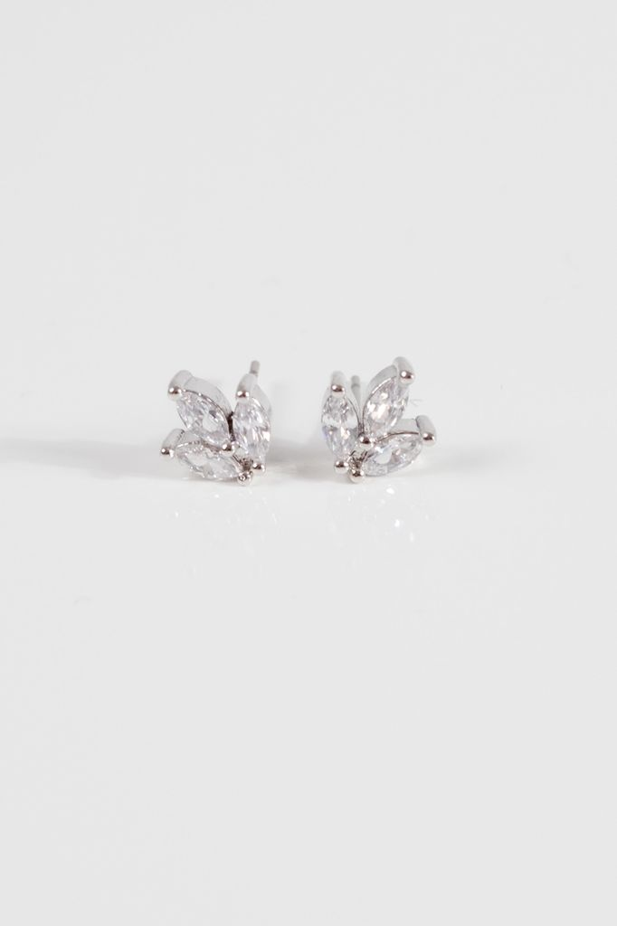 Silver Silver rhinestone cluster earring