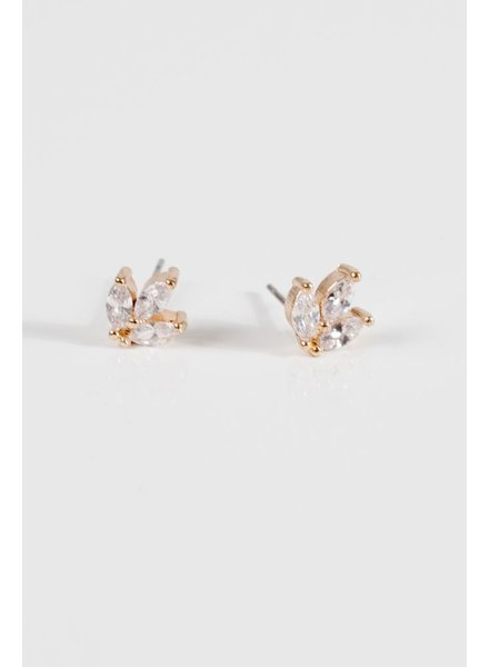 Gold Gold rhinestone cluster earring