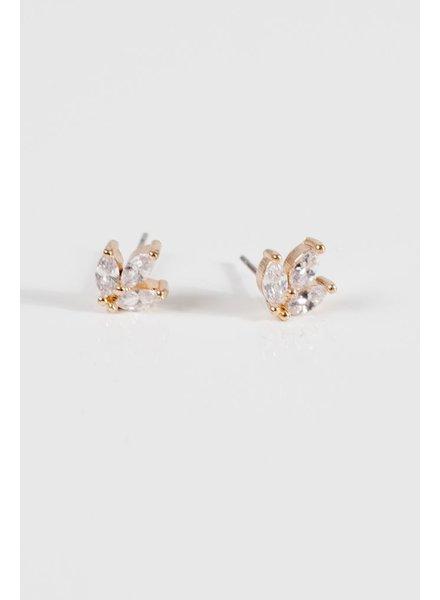 Gold Gold rhinestone cluster earring