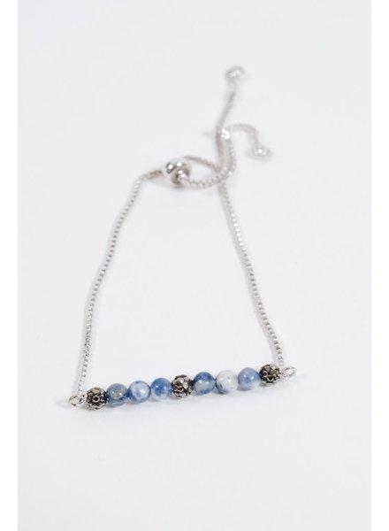 Stone Silver beaded pull bracelet