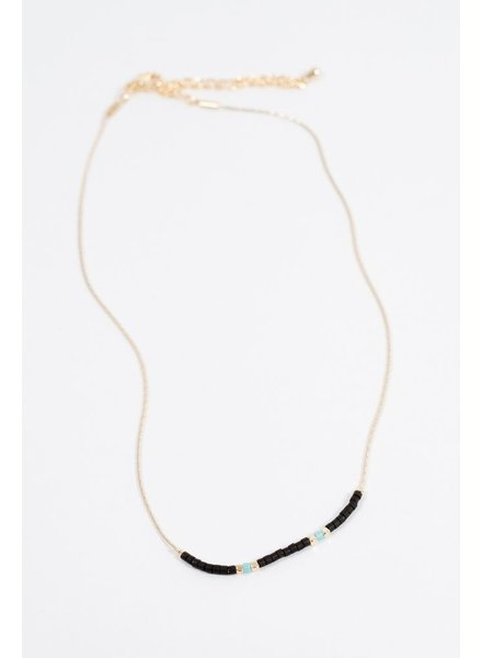 Choker Black beaded gold choker