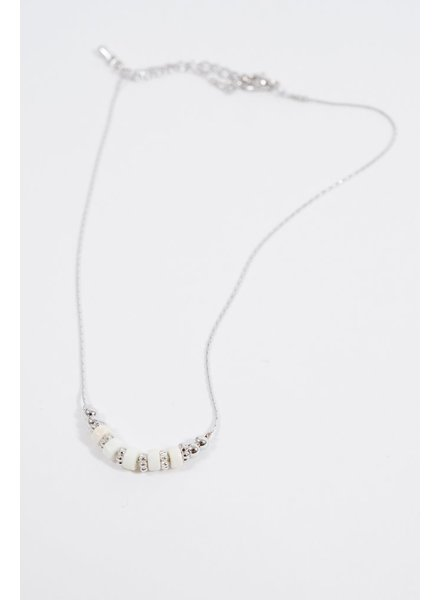 Choker White beaded silver choker