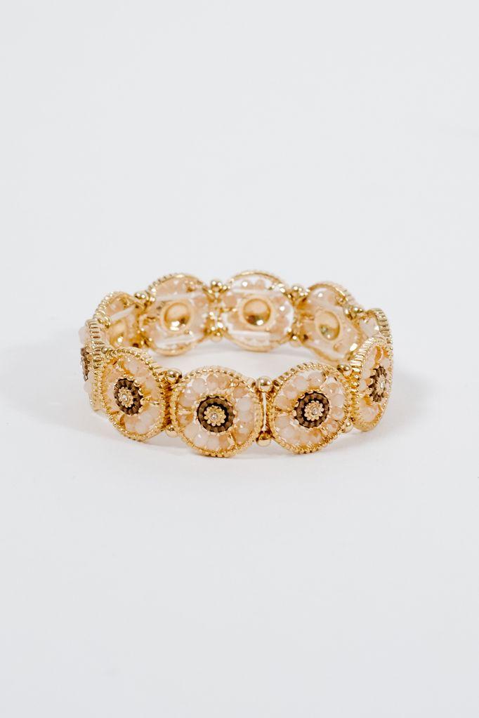Gold Beaded gold circle bracelet