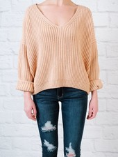 Sweater Ribbed Lace Up Back Knit