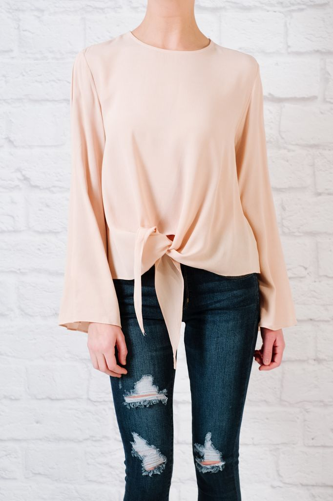 Blouse Tie Front Bell Sleeve Blouse