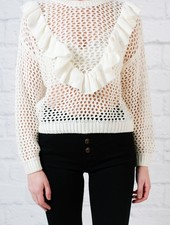 Sweater V Shape Ruffle Knit