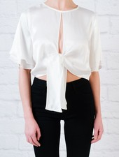 Blouse Short Sleeve Tie Front Blouse