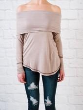 T-shirt Mauve foldover t-shirt