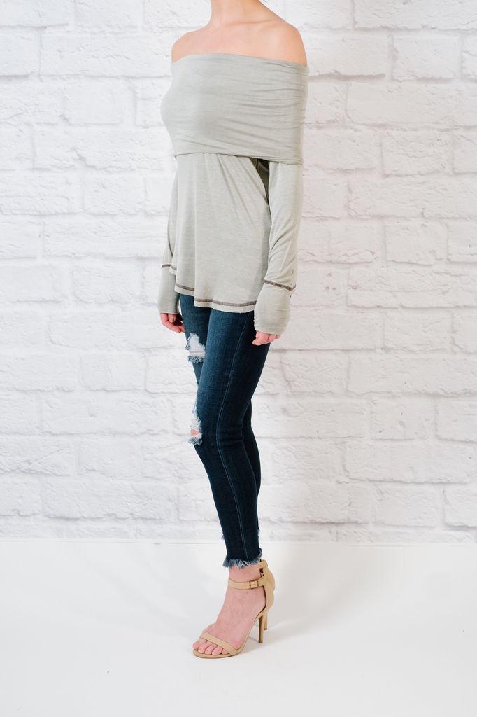 T-shirt Dove grey foldover t-shirt