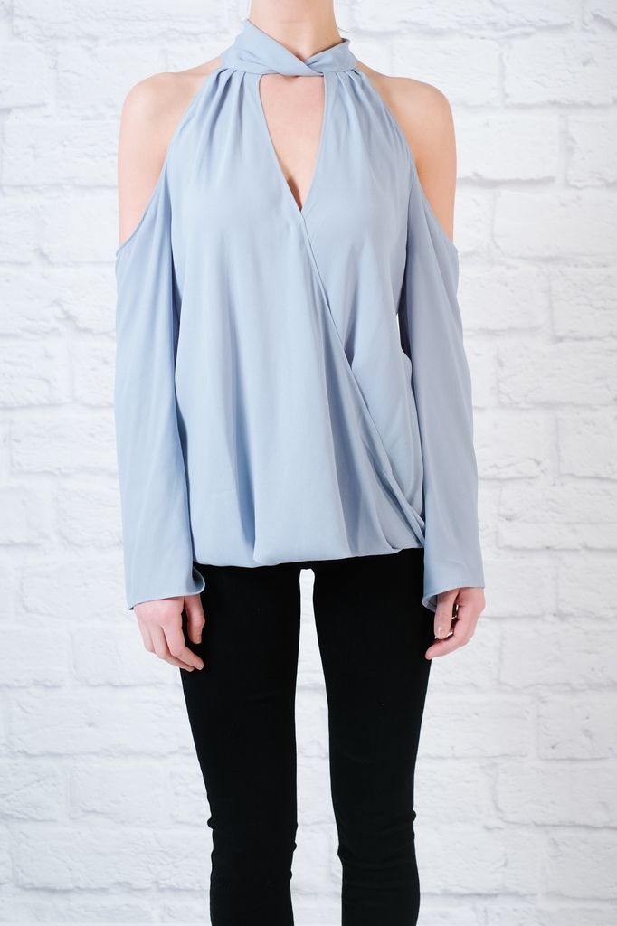 Blouse Cold shoulder drapey fron blouse with bell sleeves