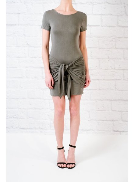 T-shirt Grey Tie Front T-Shirt Dress