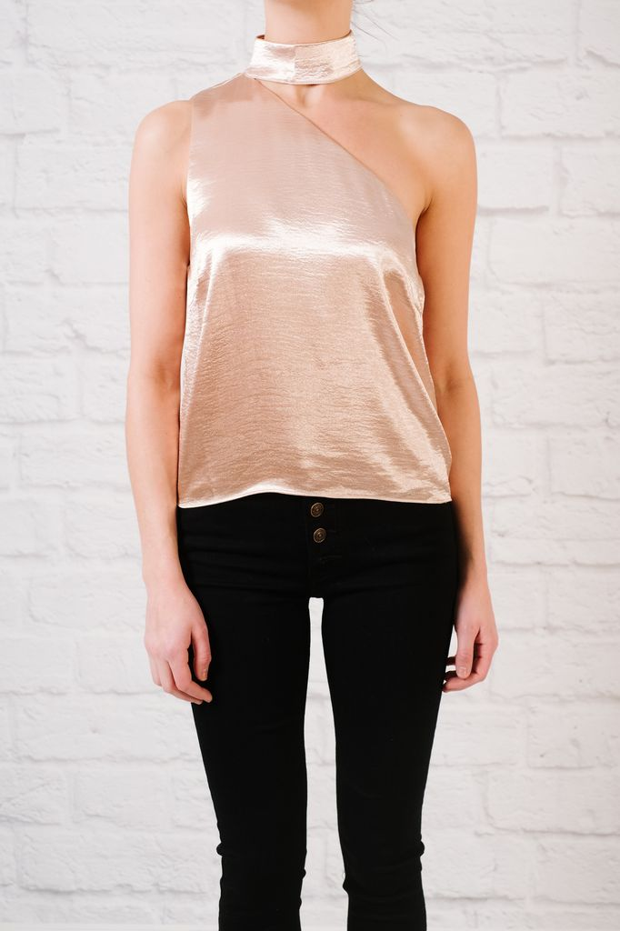 Sleeveless blouse Satin Asymetrical Sleeveless Blouse