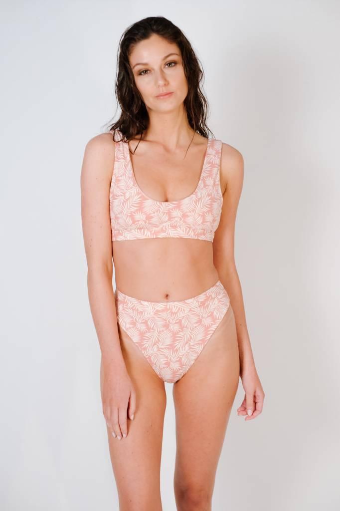 Bikini Cameo leaves high cut banded bottom