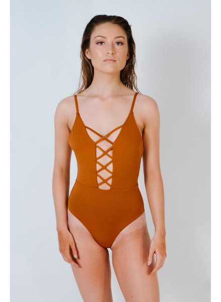 Bodysuit Rust caged front one piece
