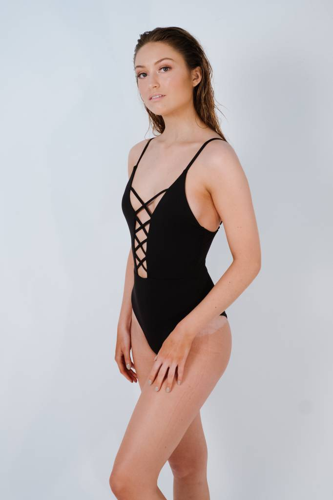 Bodysuit Black caged front one piece