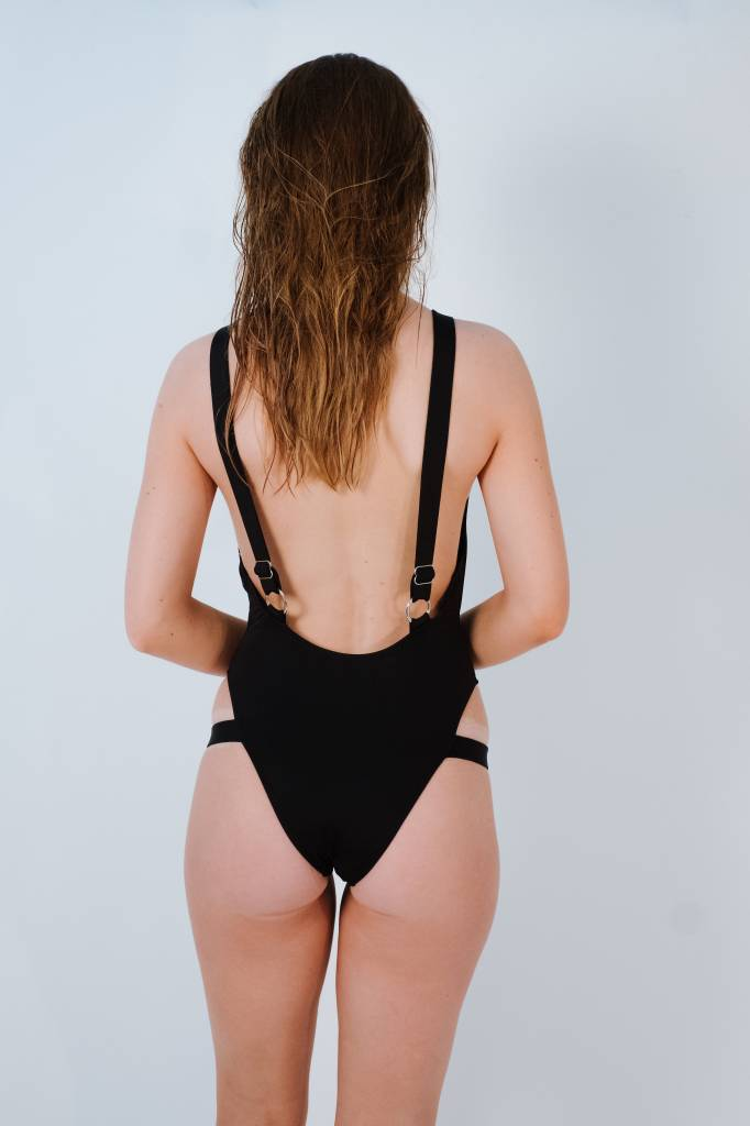 Bodysuit Black one piece with leg straps
