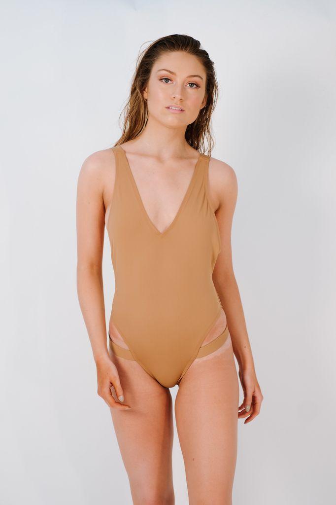 Bodysuit Mauve one piece with leg straps