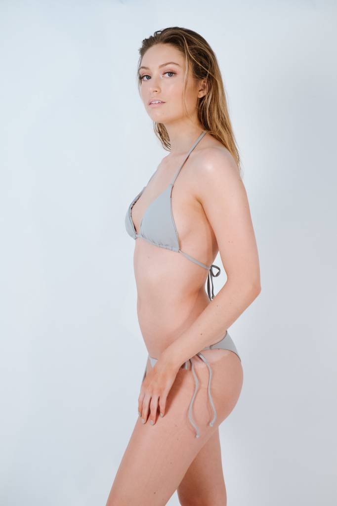 Bikini Stone grey string triangle top