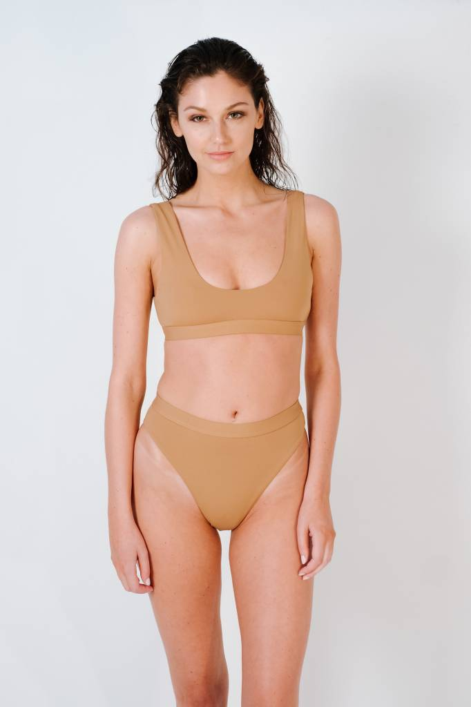 Bikini Mauve high cut banded bottom