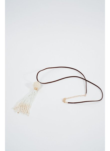Leather White bead tassel necklace