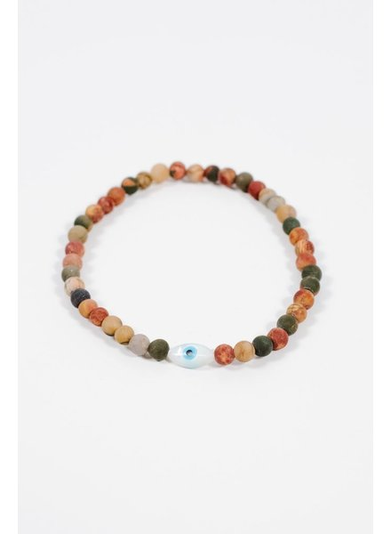 Trend Multicolor beaded evil eye bracelet