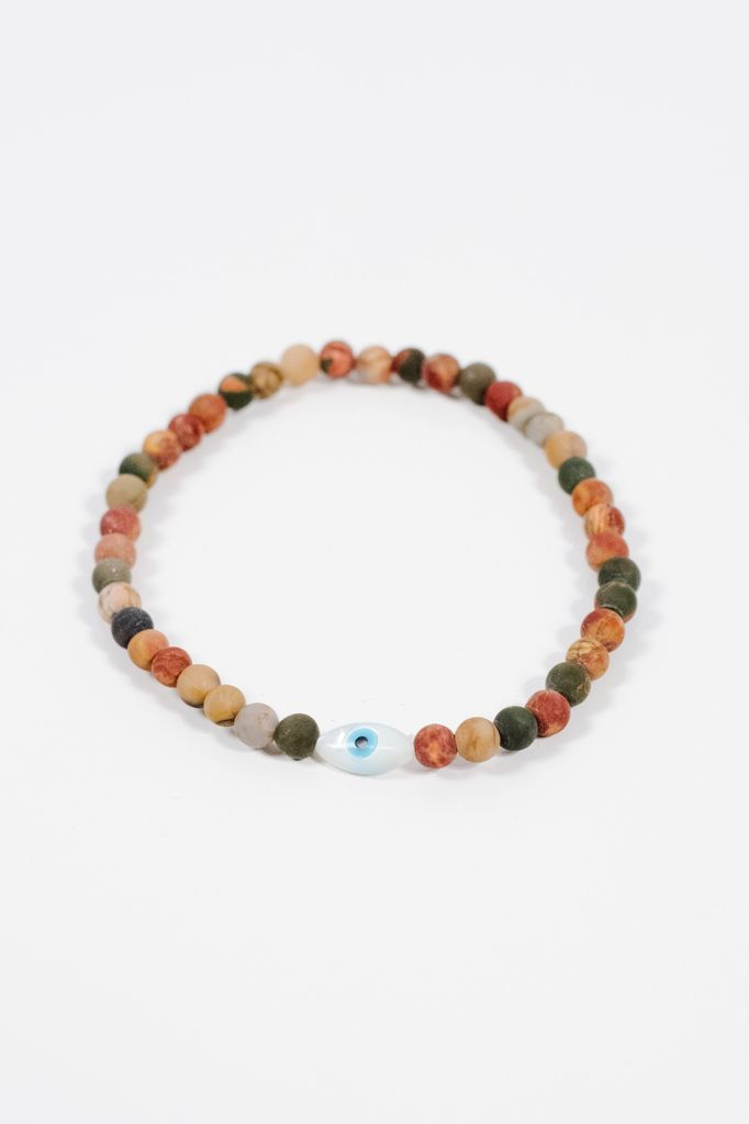 Trend Multicolor beaded evil eye bracelet