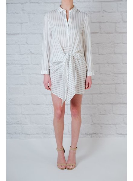 Casual Long Sleeve Striped Tie Front Dress