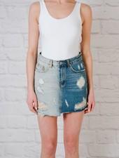 Skirt 2-tone denim skirt