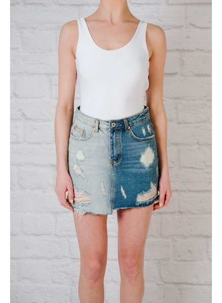 Skirt 2-tone denim skirt