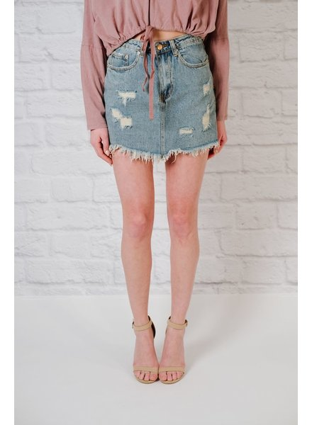 Skirt Distressed fray hem denim skirt