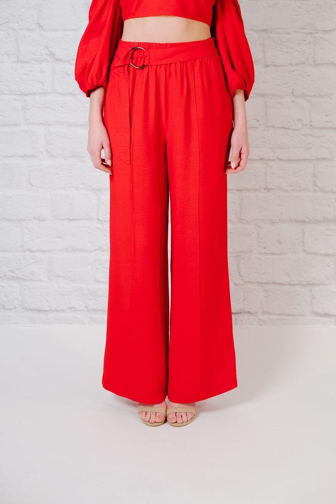 Pants Wide leg belted pants