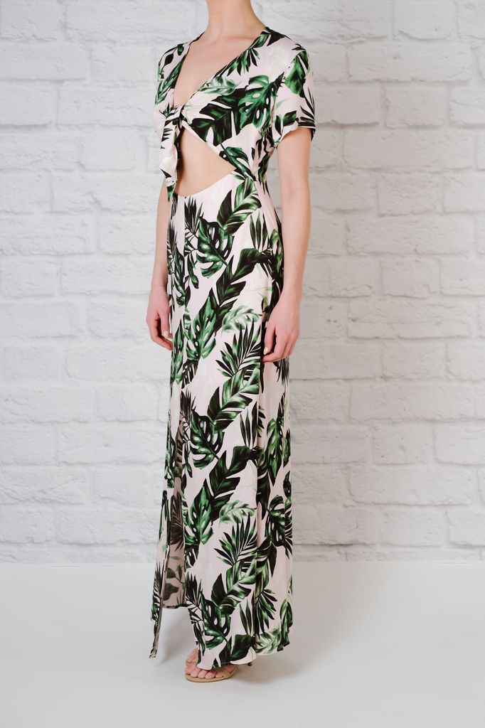 Maxi Printed open tie front maxi