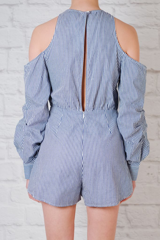 Romper Striped cold shoulder romper