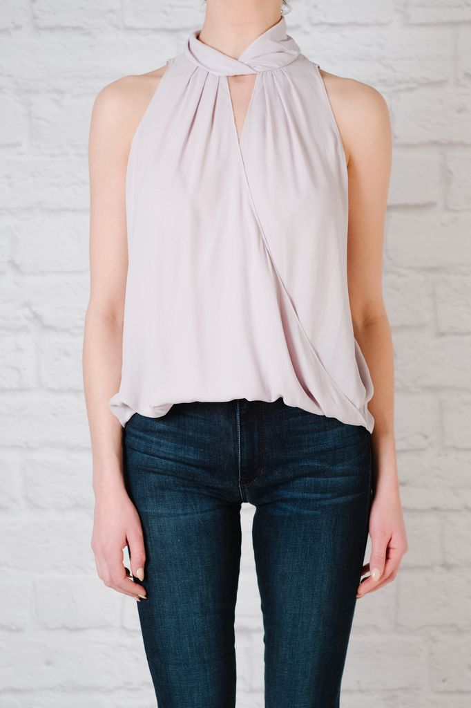 Blouse Lilac twist neck blouse