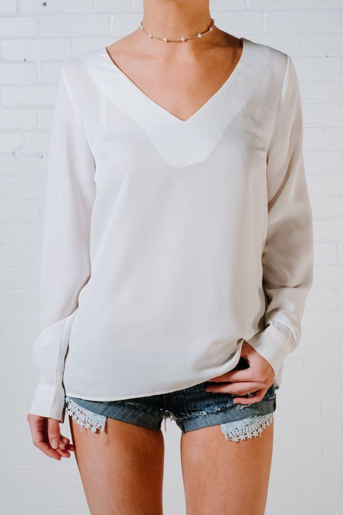 Blouse Ivory back strap blouse