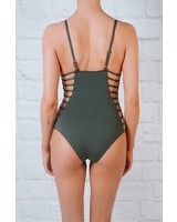 Bodysuit Charcoal side cage one piece