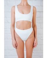 Bikini White high cut banded bottom