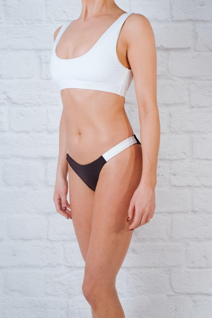 Bikini Black and white banded cheeky bottom