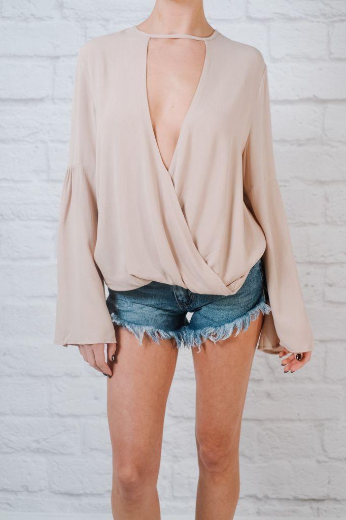 Blouse Beige drape front blouse
