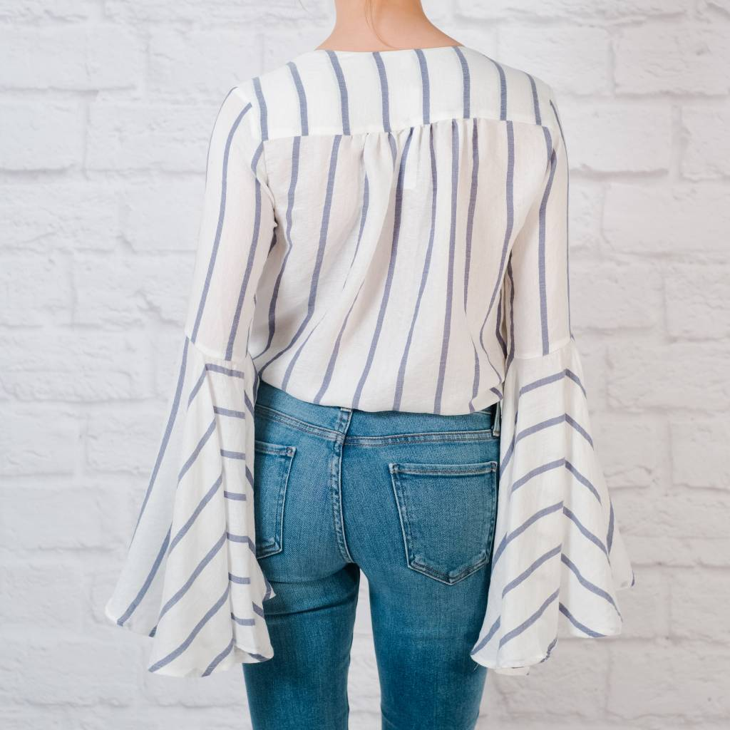 Bodysuit Striped Bell Sleeve Bodysuit