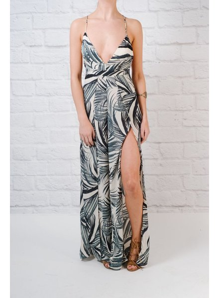 Jumpsuit Palm Print Slit Leg Jumpsuit