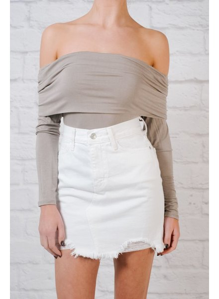 Skirt Distressed white denim skirt