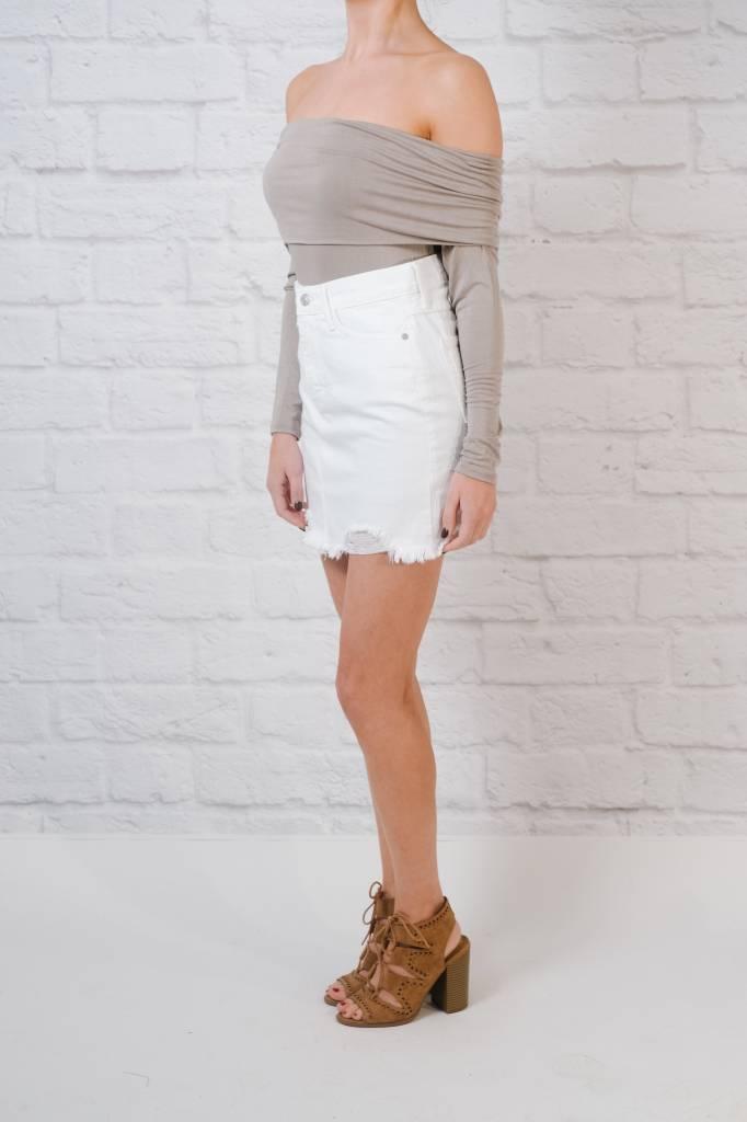 Skirt Distressed white denim skirt