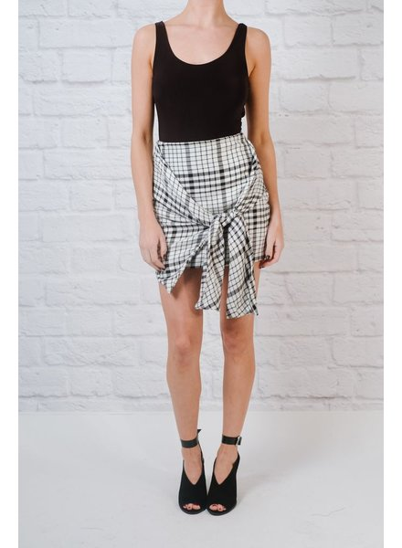 Skirt Plaid tie waist skirt