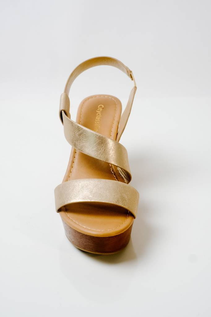 Wedge Gold strappy wedge shoe